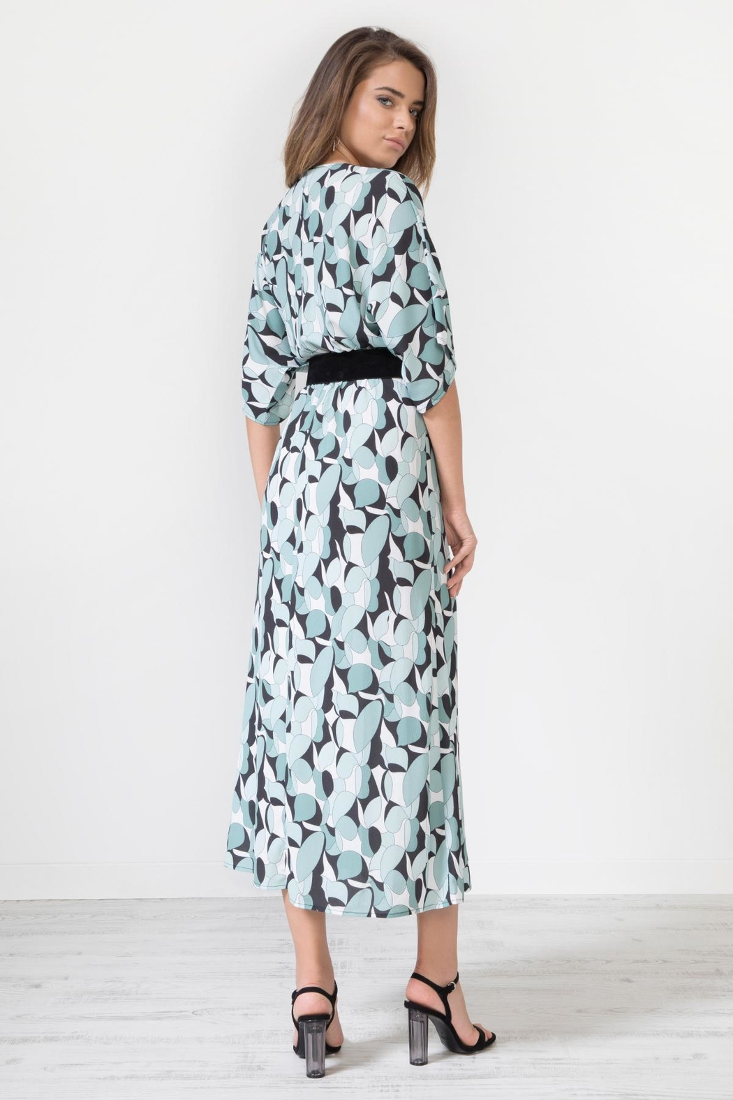 Urban Touch Geometricprint Mididress Withbelt - Side Cropped Image