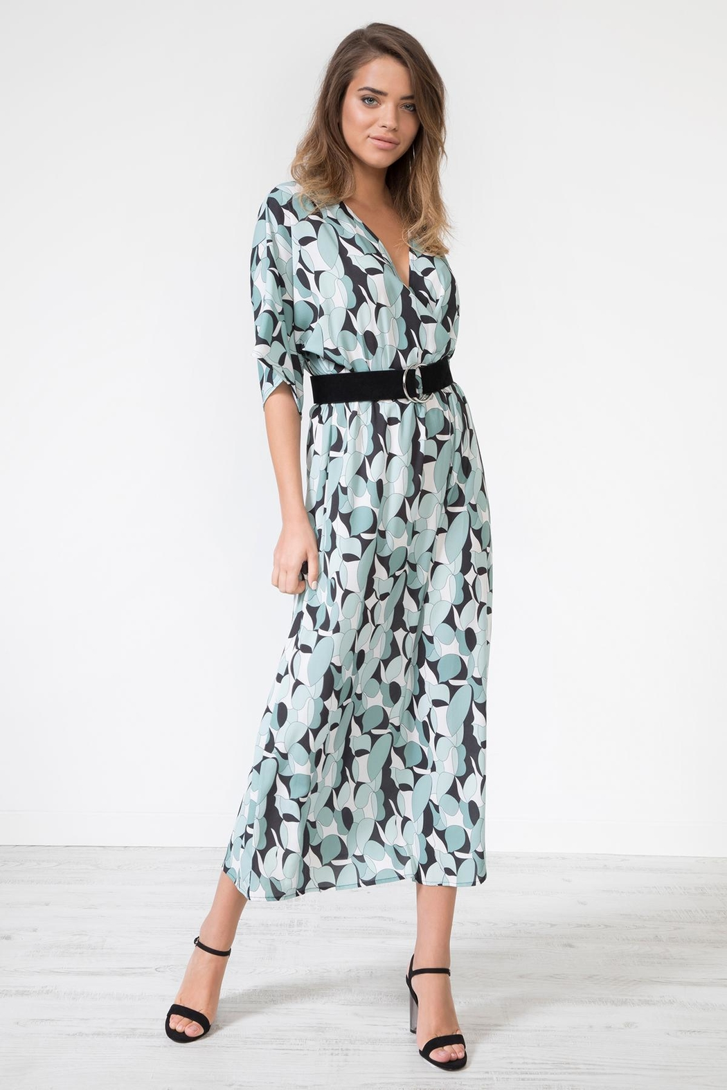 Urban Touch Geometricprint Mididress Withbelt - Front Full Image