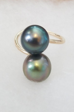 Maui Ocean Jewelry GF 2 Tahitian Pearl Ring - Alternate List Image