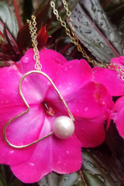 Maui Ocean Jewelry GF Heart Pearl Long Necklace - Product Mini Image