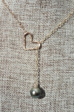 Maui Ocean Jewelry GF Tahitian Pearl Heart Lariat - Alternate List Image