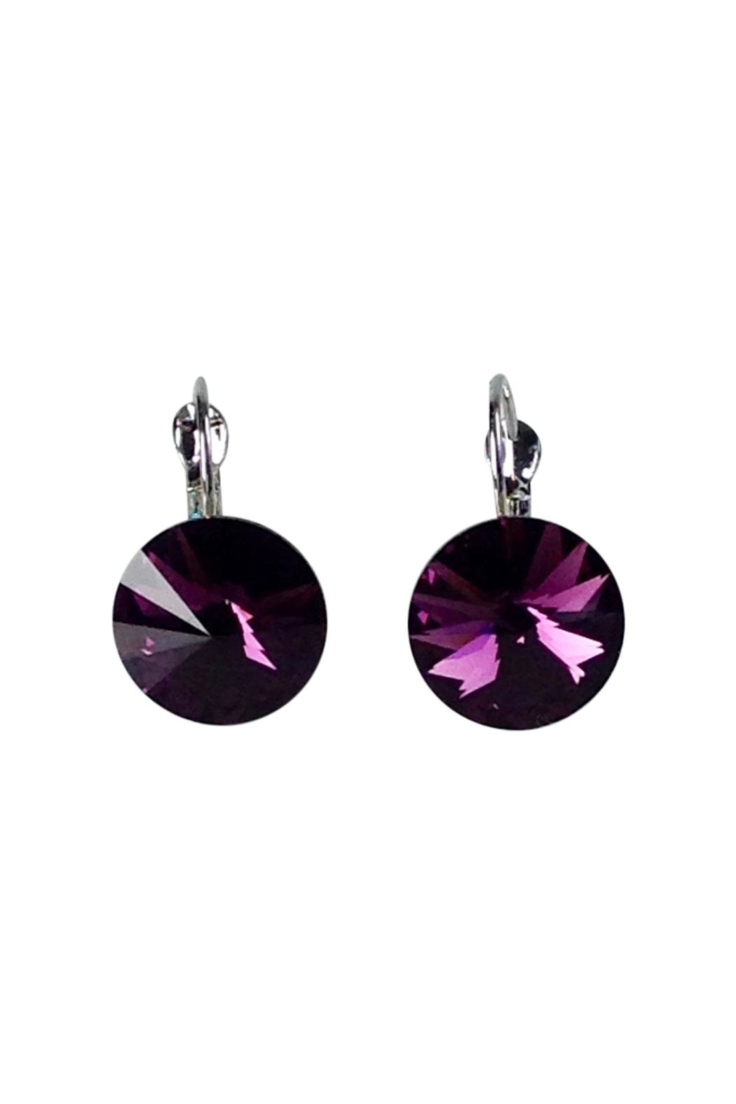 GHome2 Amethyst Swarovski Earrings - Front Full Image