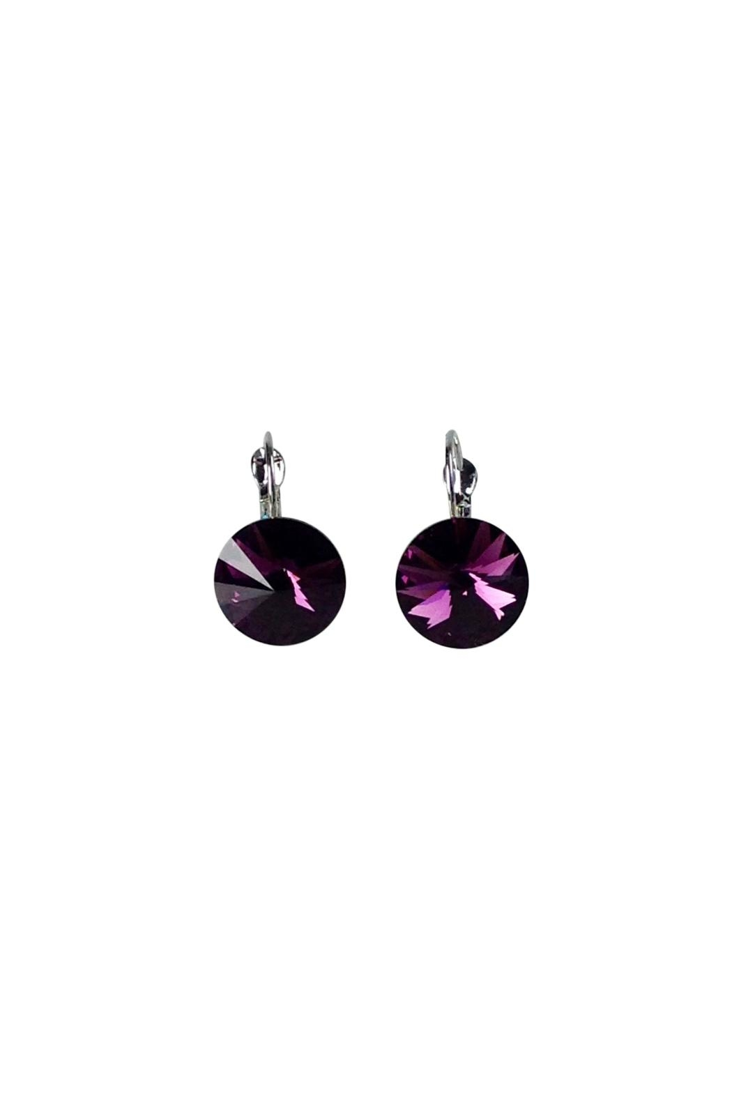 Ghome2 Amethyst Swarovski Earrings Front Cropped Image