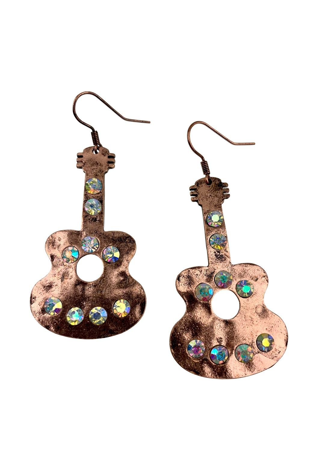 GHome2 Copper Guitar Earrings - Front Full Image