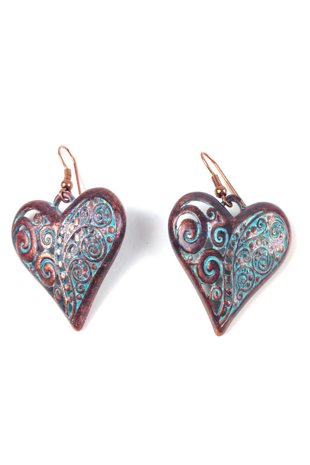 GHome2 Copper Patina Heart Earrings - Front Full Image