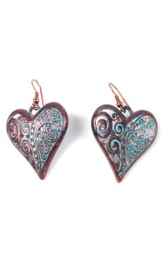 Shoptiques Product: Copper Patina Heart Earrings