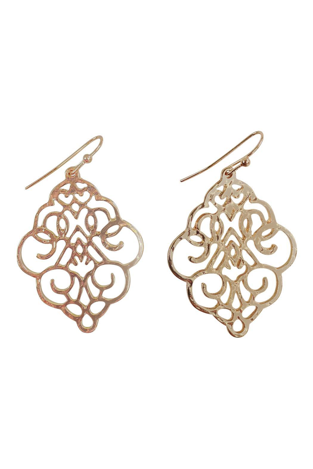 GHome2 Gold Die-Cut Earrings - Front Cropped Image