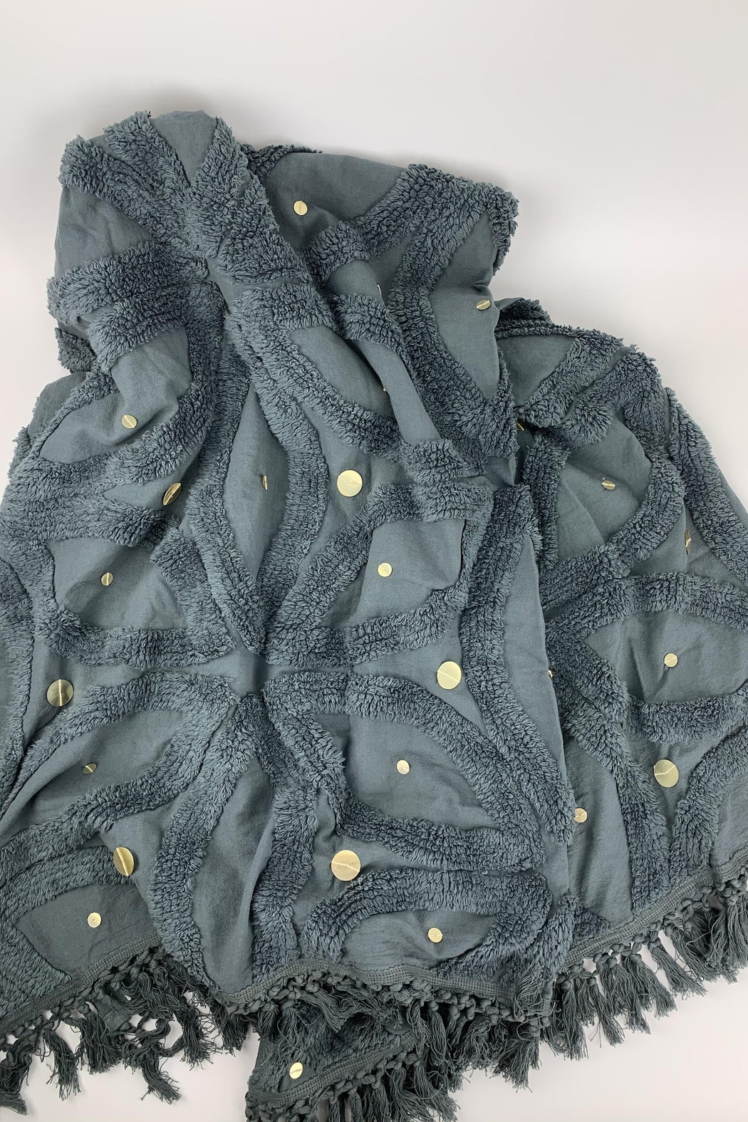 GHome2 Gray Cotton Chenille Throw - Front Full Image