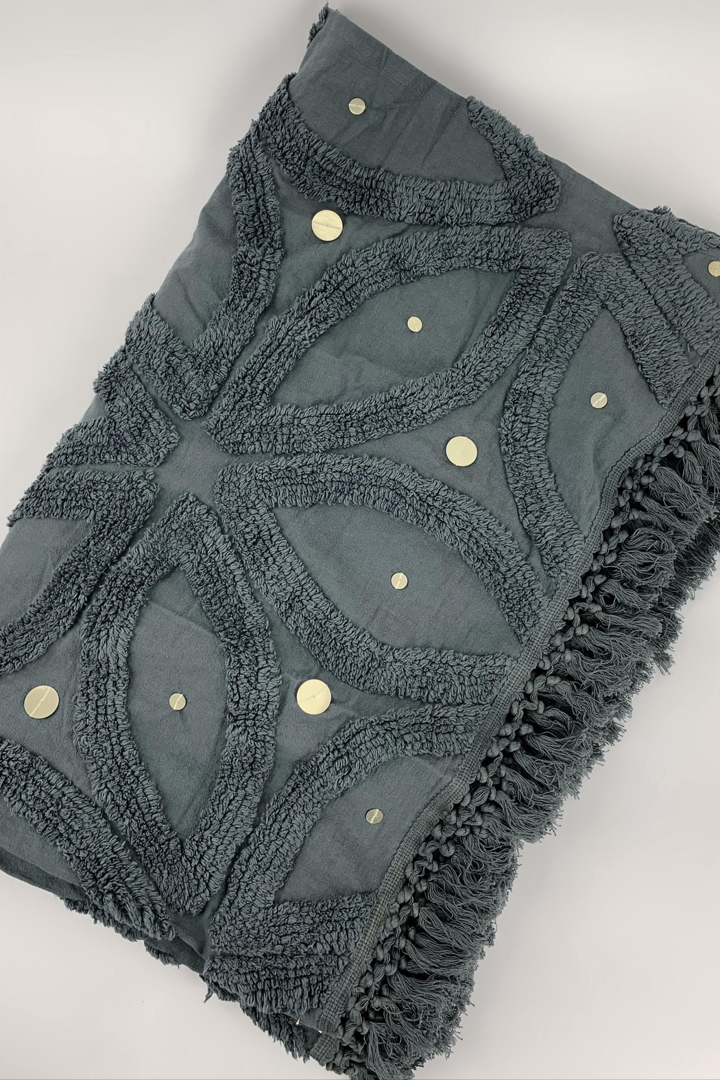 GHome2 Gray Cotton Chenille Throw - Side Cropped Image