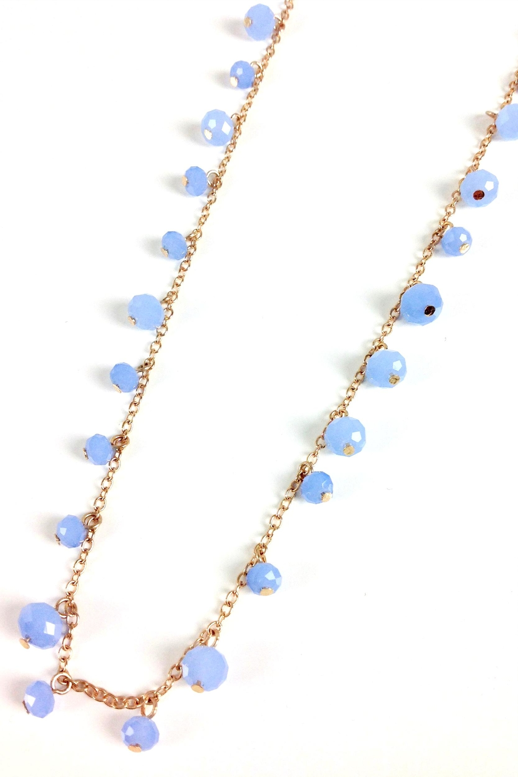 GHome2 Long Necklace W/blue-Crystals - Front Full Image