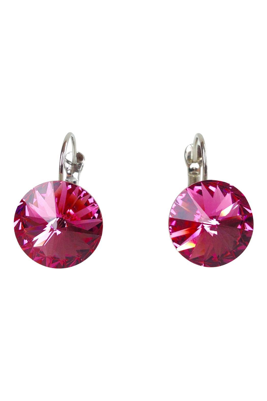 GHome2 Magenta Swarovski Earrings - Front Cropped Image