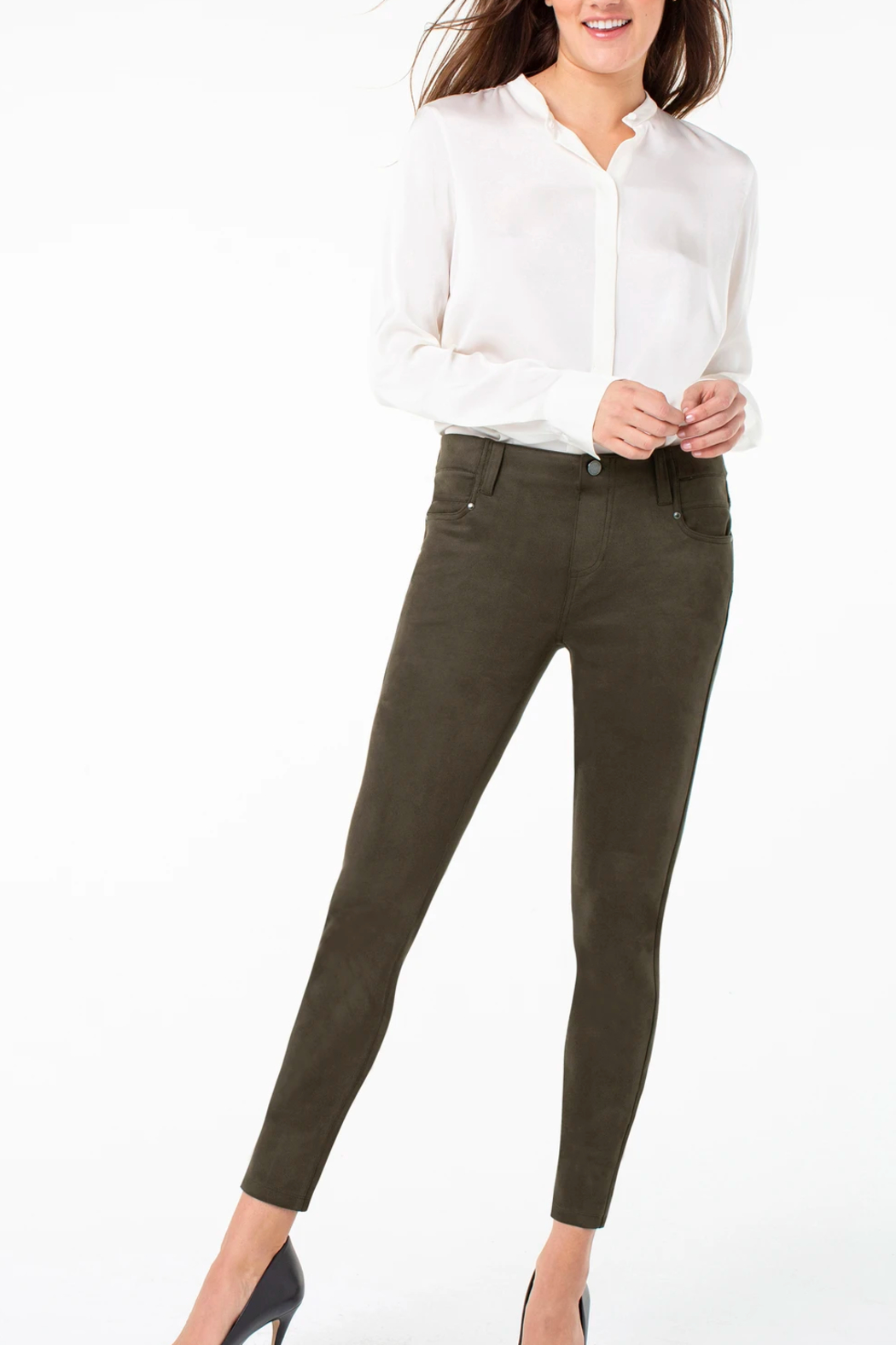 Liverpool Gia Faux-suede Skinnypant - Side Cropped Image
