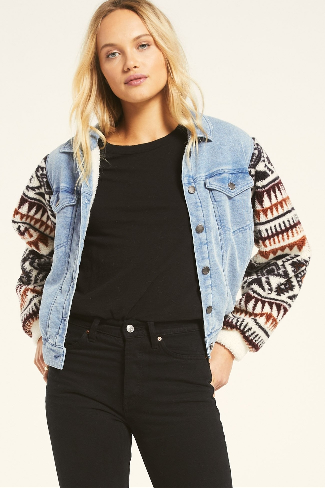 z supply Gia Knit Denim Jacket - Front Cropped Image