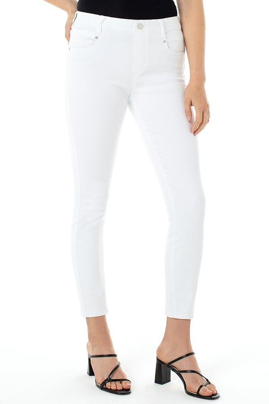 Liverpool  Gia White Glider Skinny - Front Cropped Image