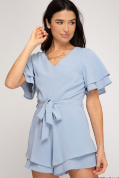 She and Sky Giana S/S Ruffled Romper W/ Pockets - Product List Image