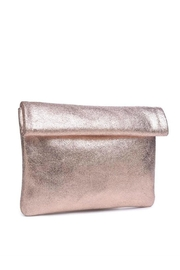 Moda Luxe Gianna Metallic-Leather Clutch - Front full body
