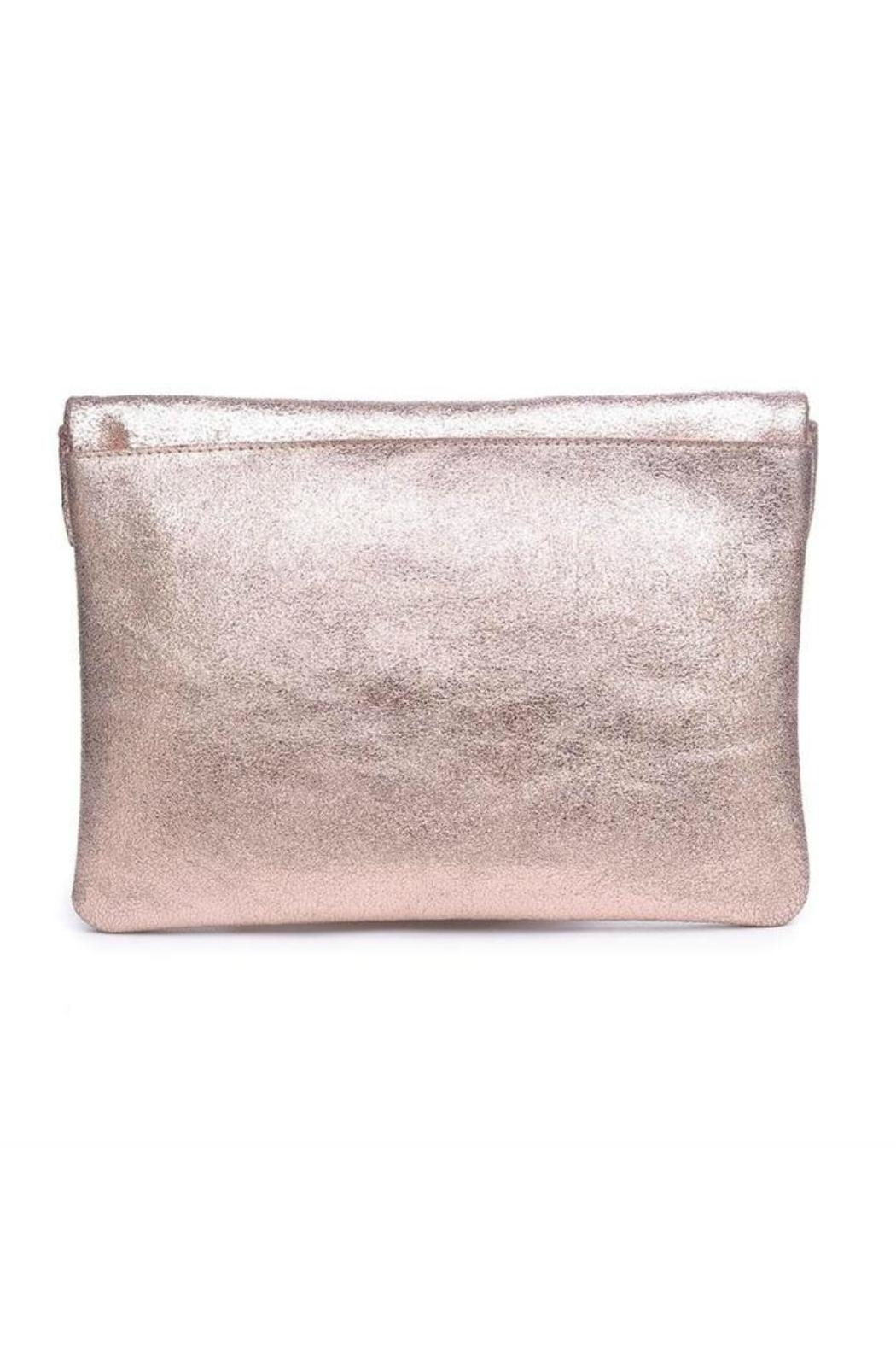 Moda Luxe Gianna Metallic-Leather Clutch - Side Cropped Image