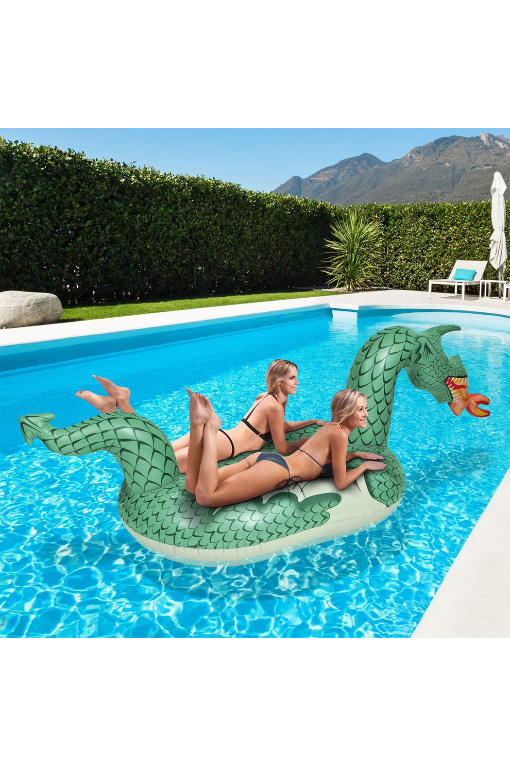 GoFloats Giant Fire Dragon Pool Float - Front Full Image