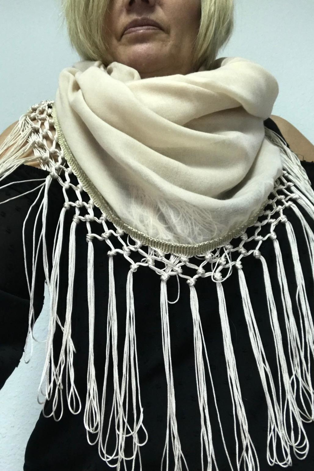 Gift Craft Tassel Infinity Scarf - Front Cropped Image