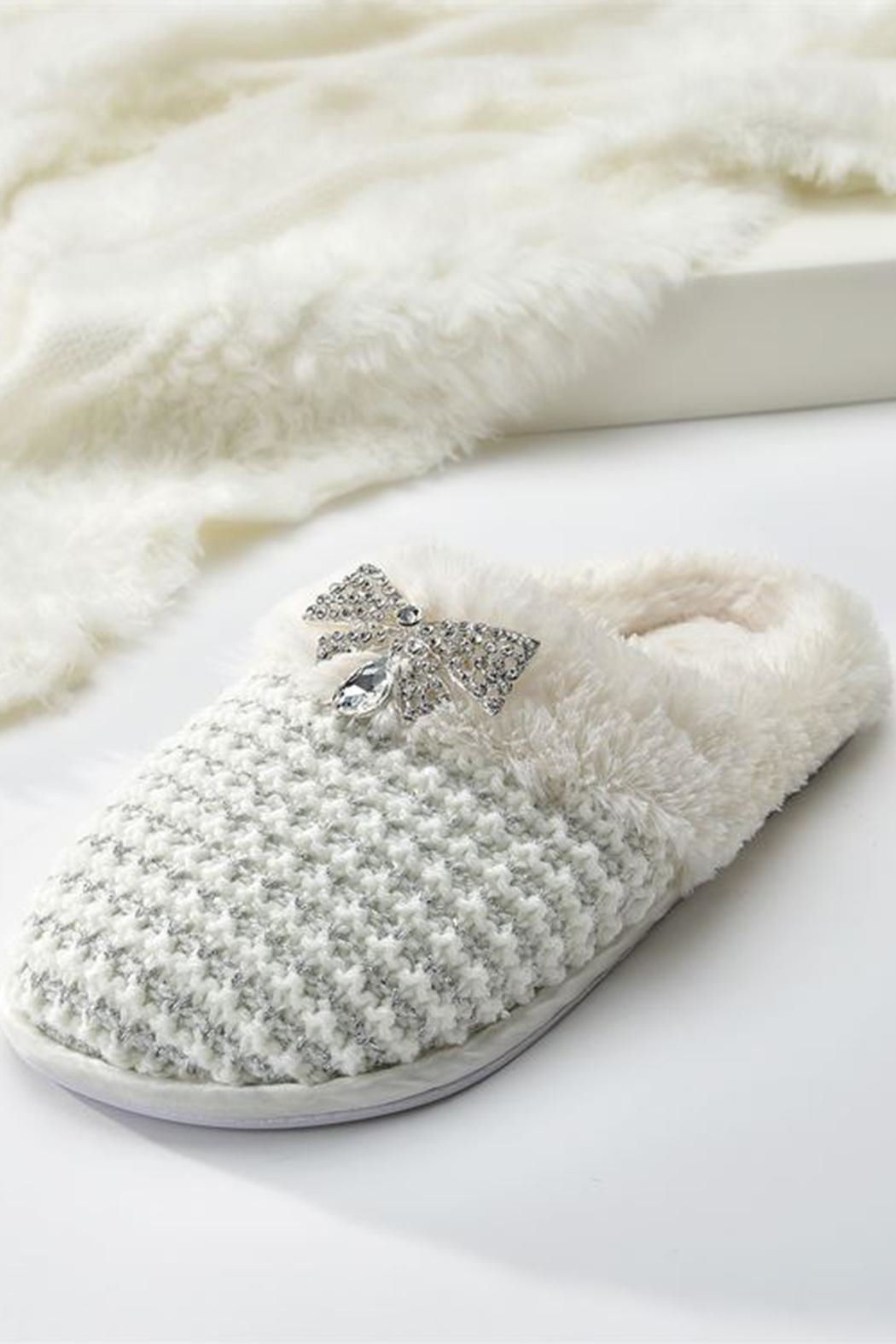 Giftcraft Inc.  Cream Knitted Slippers - Main Image