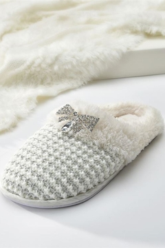 Giftcraft Inc.  Cream Knitted Slippers - Alternate List Image