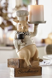 Giftcraft Inc.  Pig Chef Candleholder - Front cropped