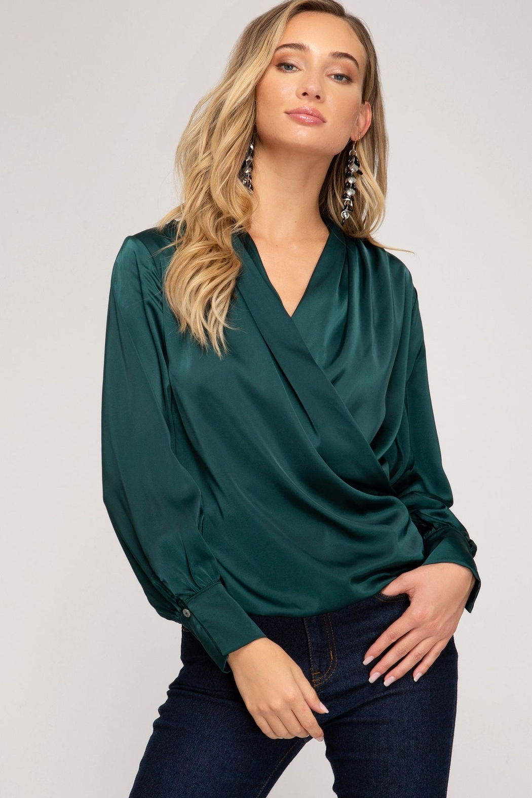 She + Sky Wrapped Satin Blouse - Front Cropped Image