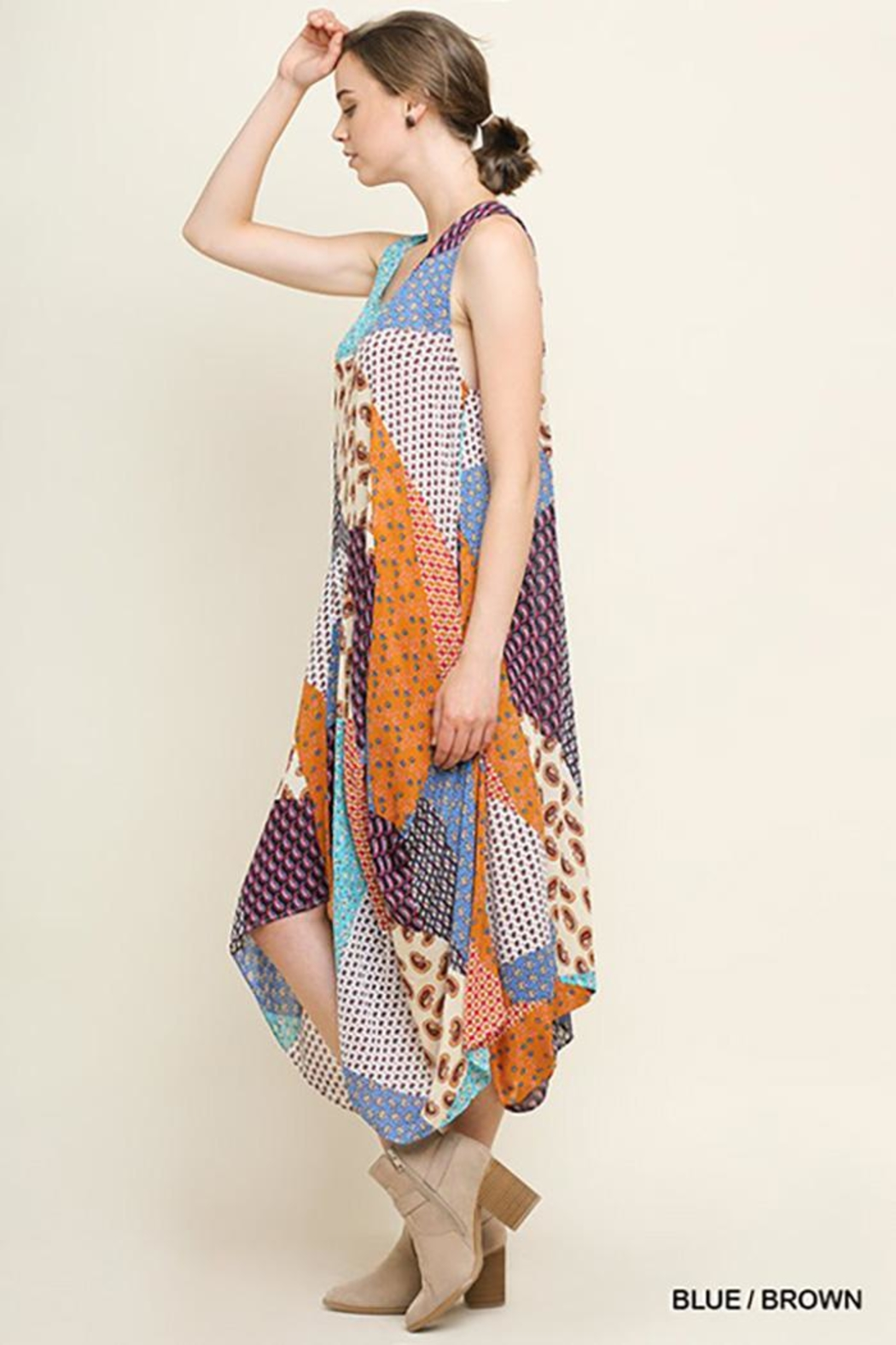 Gigio/BluHeaven Floral Patchwork Maxi Dress - Front Full Image