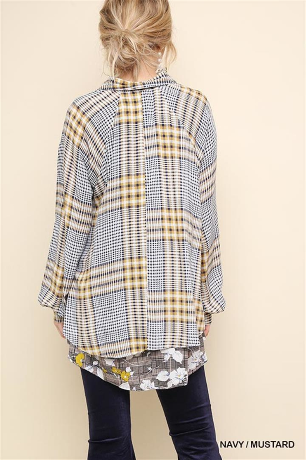 Gigio/BluHeaven Floral Print Plaid Long Sleeve Button Up - Front Full Image