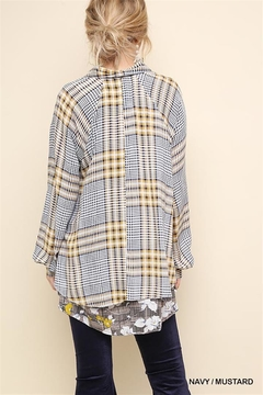 Gigio/BluHeaven Floral Print Plaid Long Sleeve Button Up - Alternate List Image