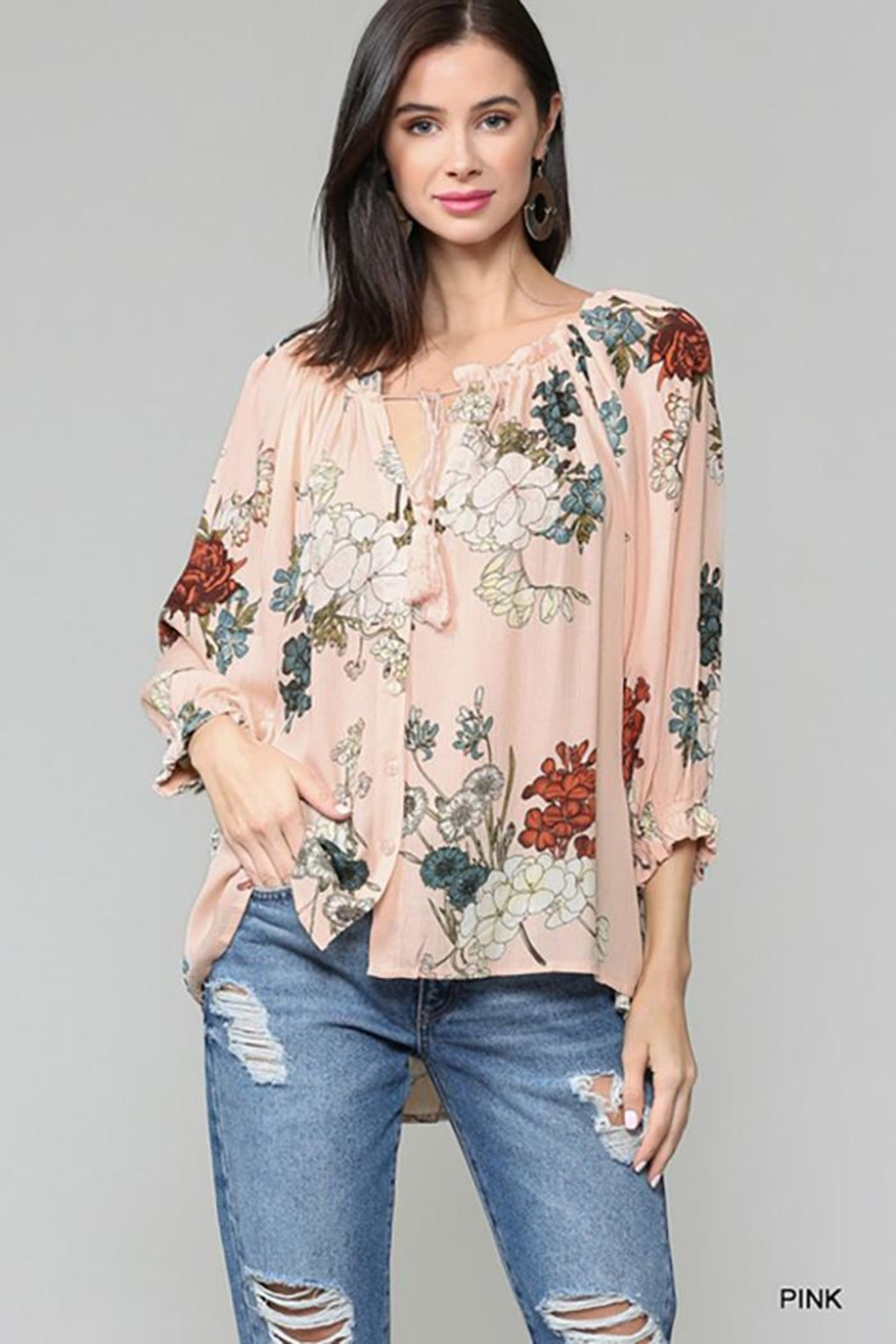 Gigio/BluHeaven Floral Semi Ruffle Neck Top - Front Cropped Image