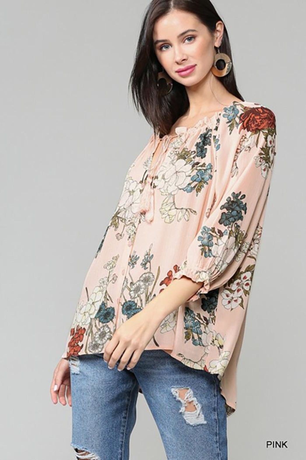 Gigio/BluHeaven Floral Semi Ruffle Neck Top - Back Cropped Image
