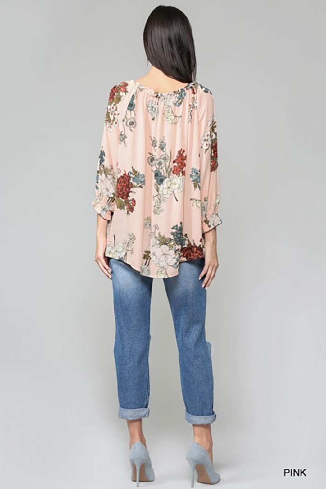 Gigio/BluHeaven Floral Semi Ruffle Neck Top - Side Cropped Image
