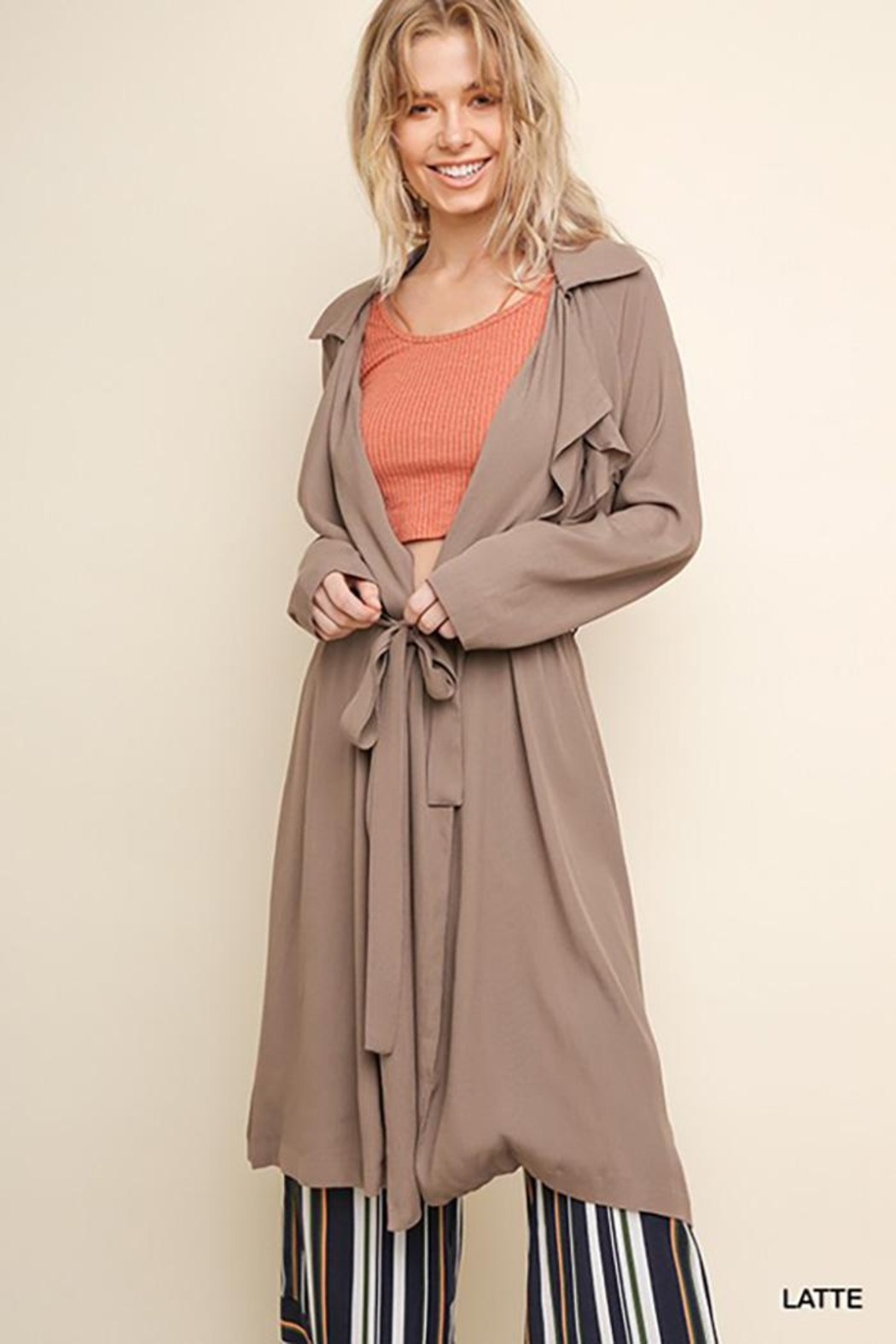 Gigio/BluHeaven Long Sleeve Long Collared Jacket - Front Cropped Image