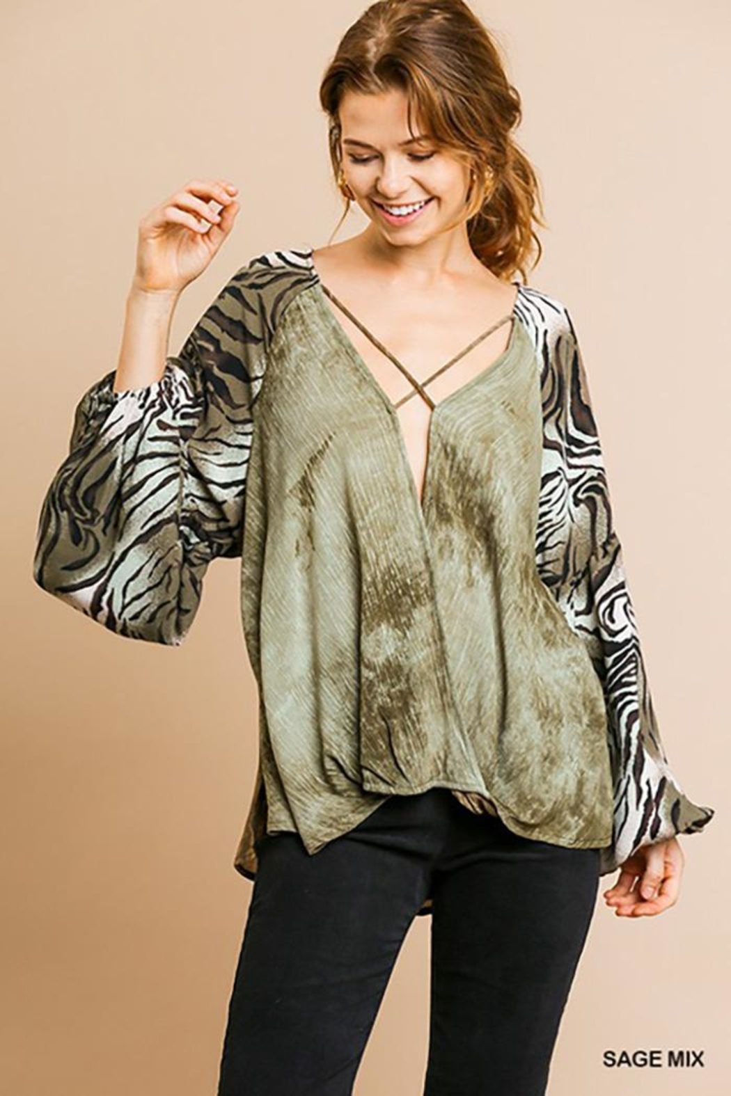 Gigio/BluHeaven Puff Sleeve Strappy Front Top - Main Image