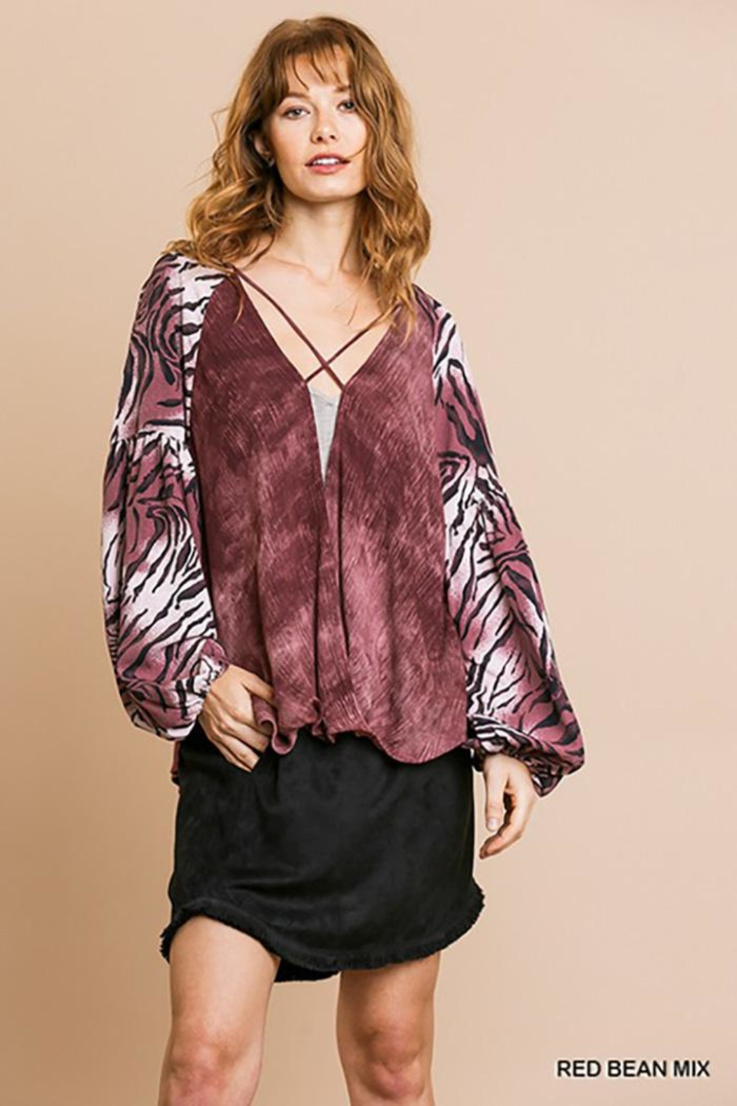 Gigio/BluHeaven Puff Sleeve Strappy Front Top - Back Cropped Image