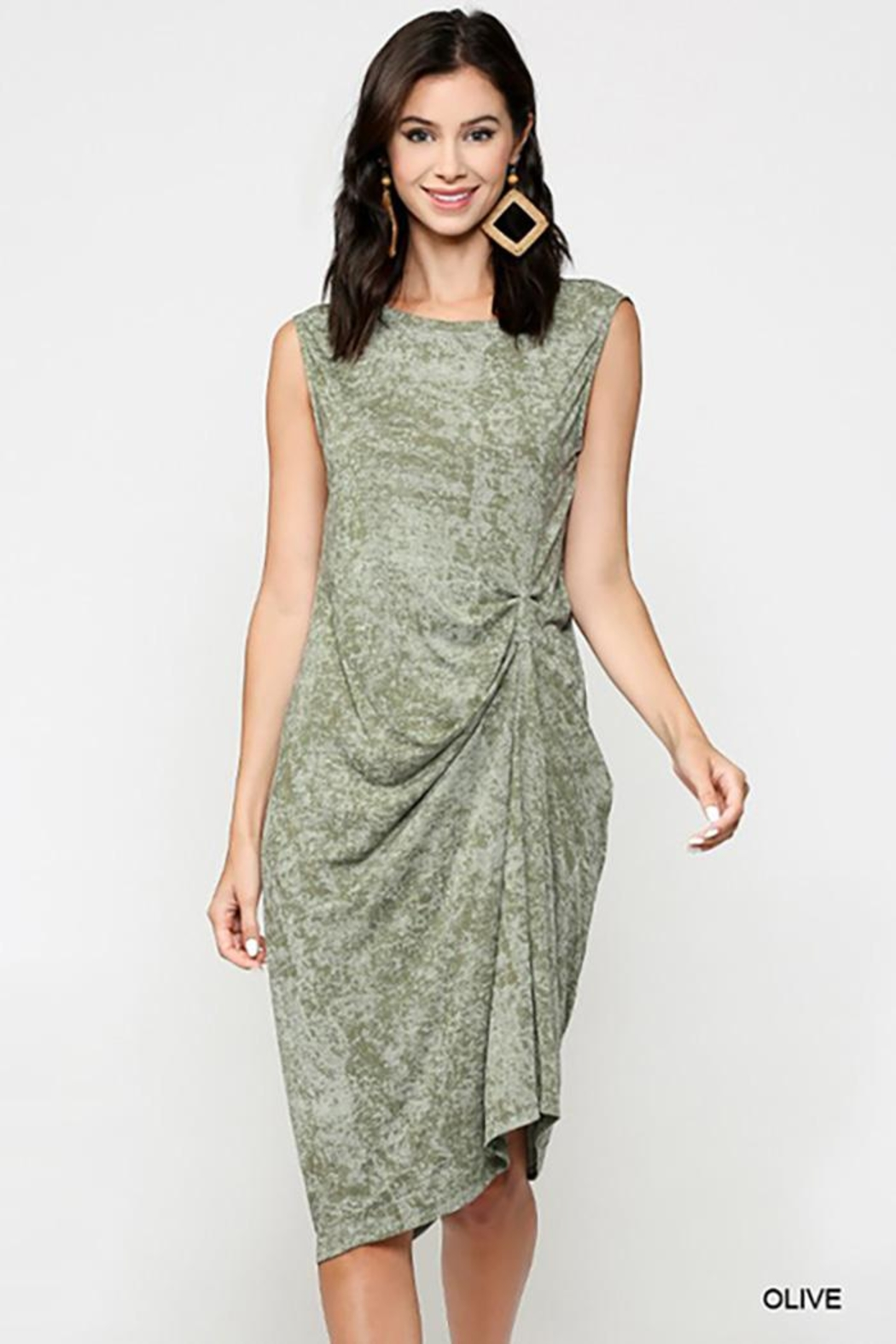 Gigio/BluHeaven Sleeveless Draped Detail Midi Dress - Main Image