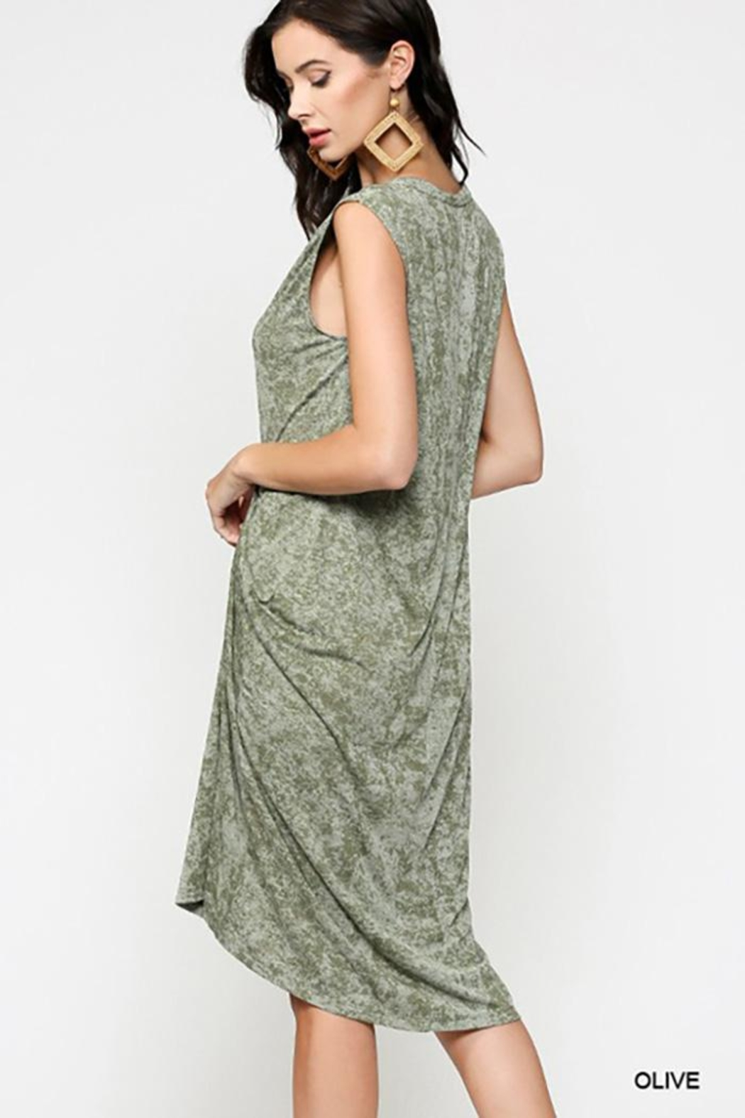 Gigio/BluHeaven Sleeveless Draped Detail Midi Dress - Back Cropped Image