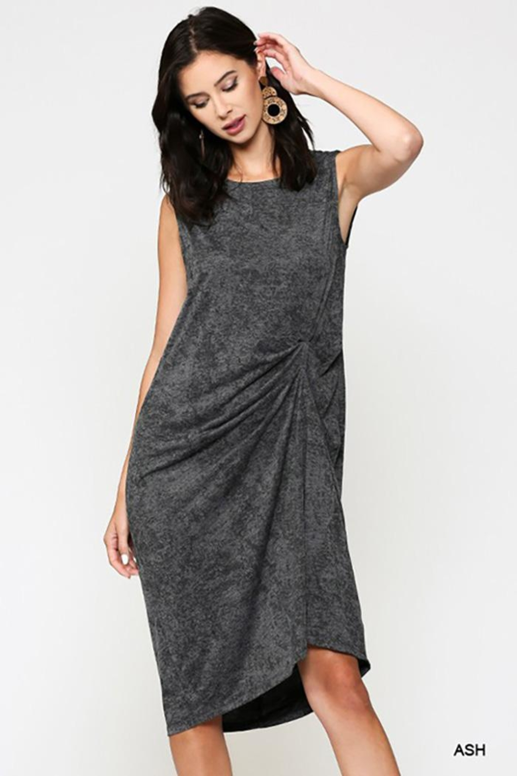 Gigio/BluHeaven Sleeveless Draped Detail Midi Dress - Front Cropped Image