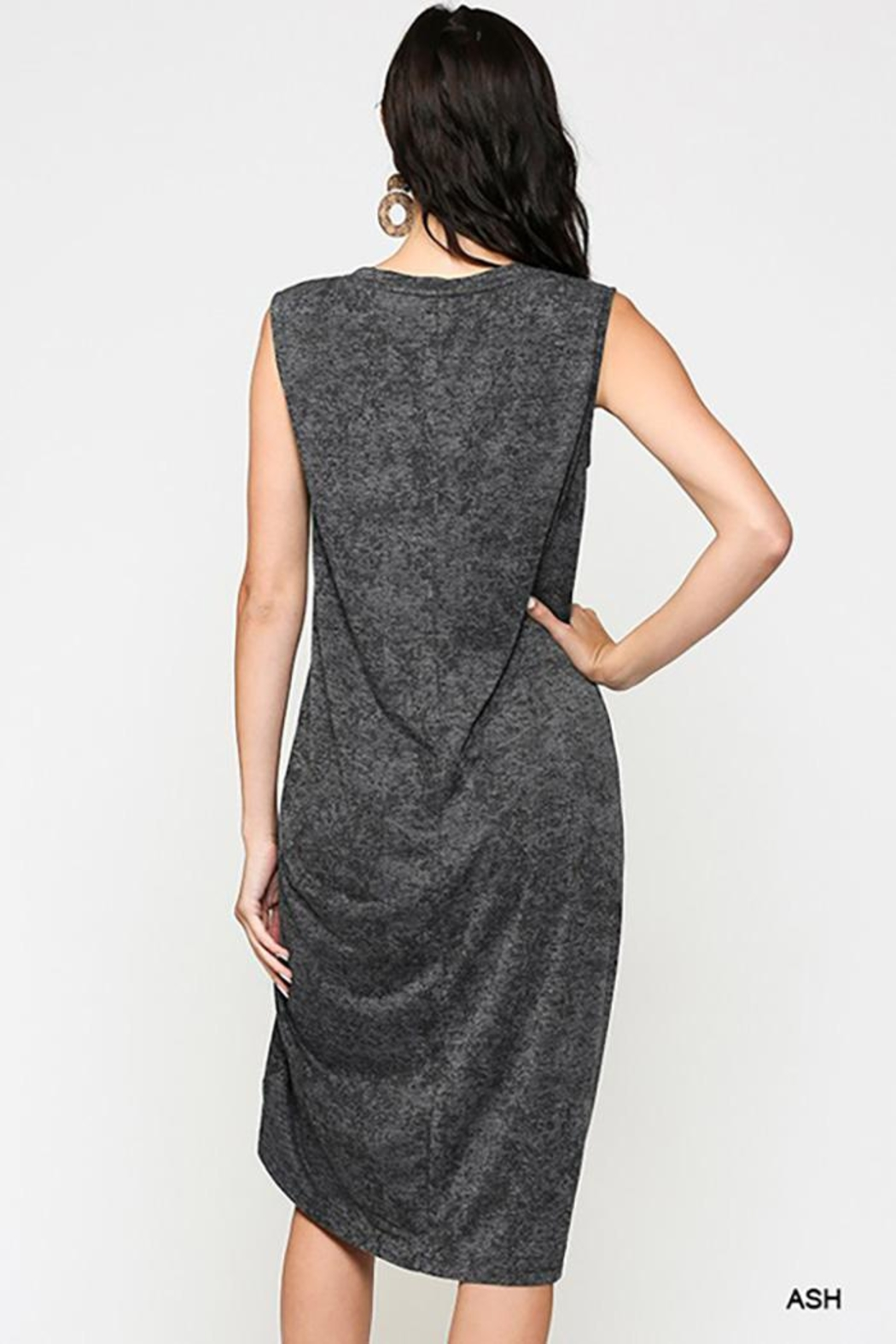 Gigio/BluHeaven Sleeveless Draped Detail Midi Dress - Front Full Image