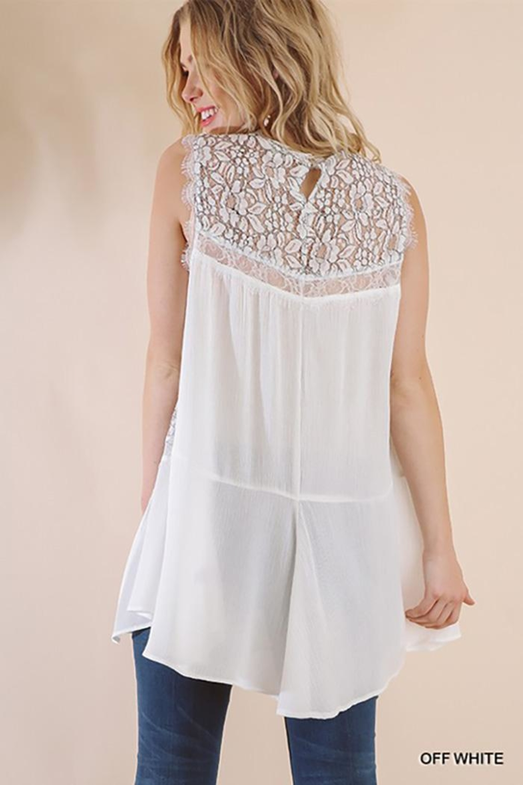 Gigio/BluHeaven Sleeveless Sheer Lace Tunic Top - Front Full Image