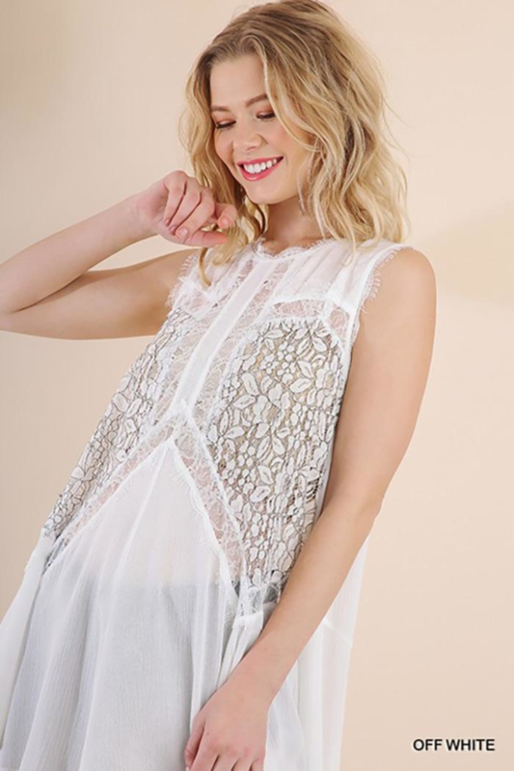 Gigio/BluHeaven Sleeveless Sheer Lace Tunic Top - Main Image