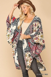 GiGiO Border Printed Ruffle Sleeves Kimono - Product Mini Image