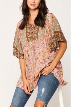 Shoptiques Product: Coral Print Peasant Top
