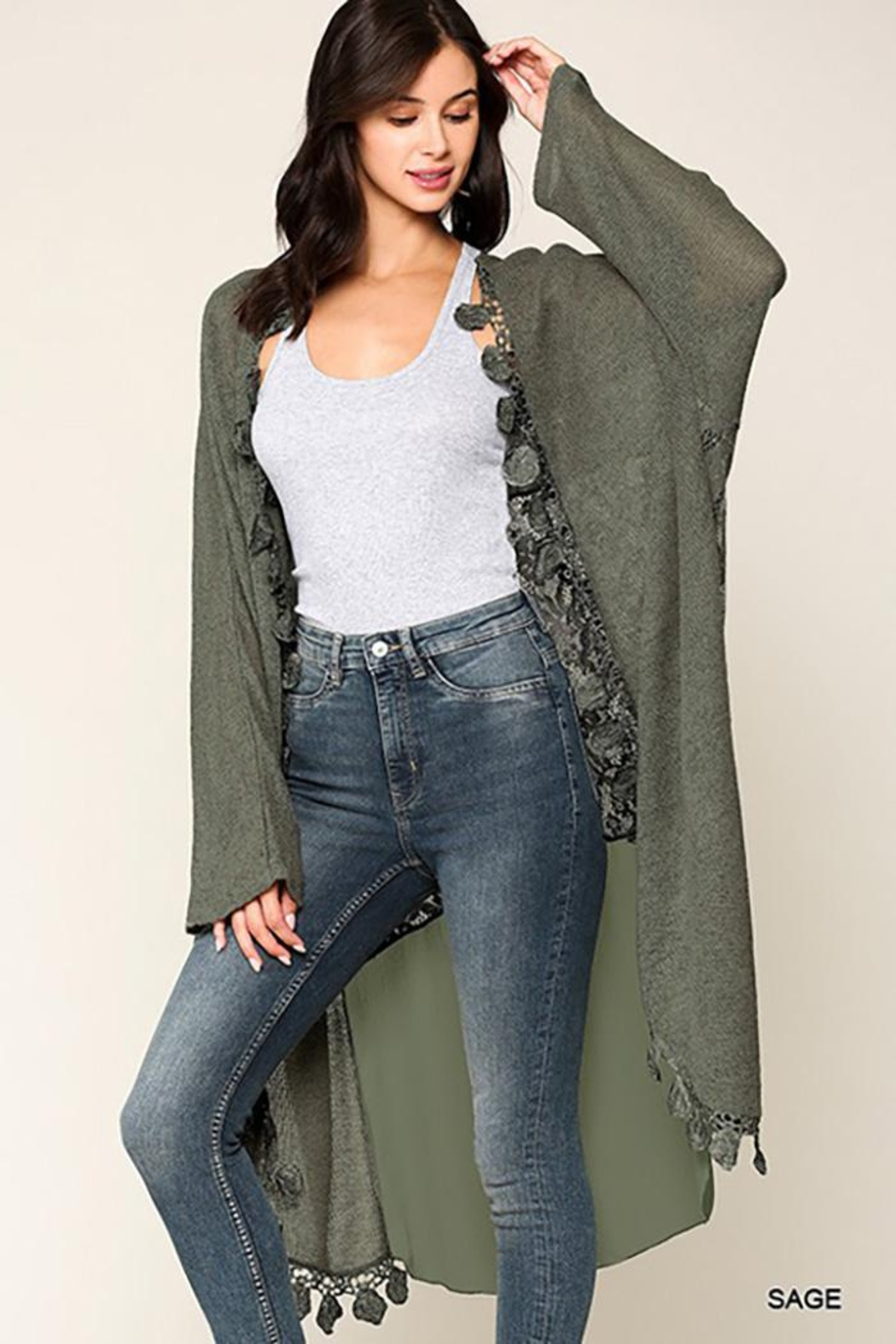 GiGiO Crochet And Lace Detailed Cardigan - Main Image