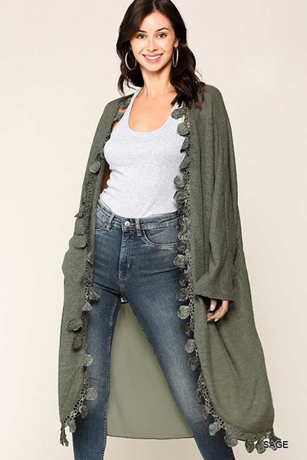 GiGiO Crochet And Lace Detailed Cardigan - Back Cropped Image