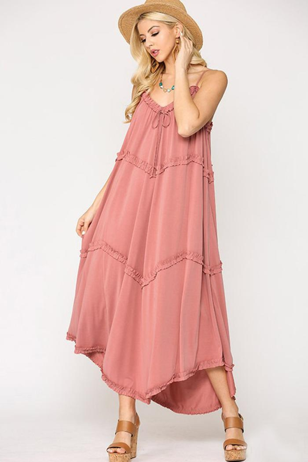 GiGiO Cupro Modal Jersey Sleeveless Casual Maxi Dress With Ruffles - Front Cropped Image