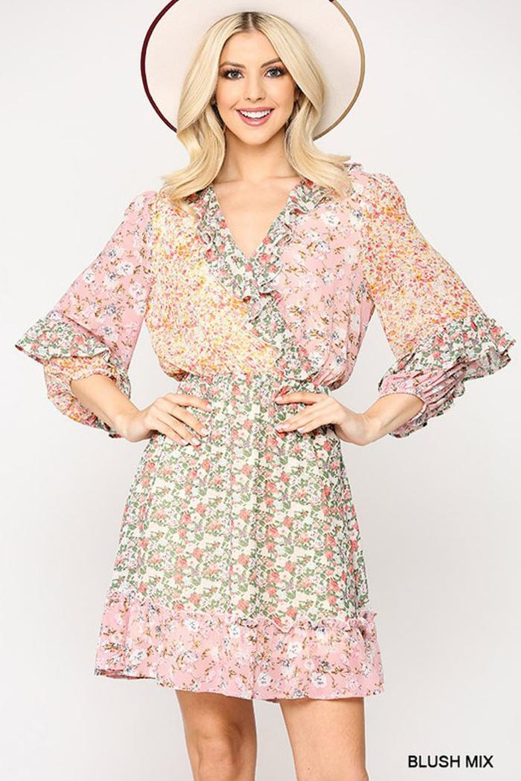 GiGiO Ditsy Floral Aesthetic Cottagecore Frilled Dress - Front Cropped Image