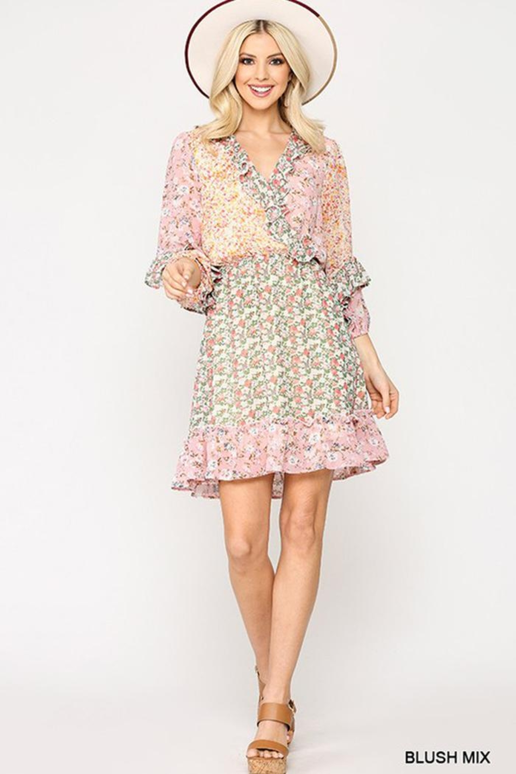 GiGiO Ditsy Floral Aesthetic Cottagecore Frilled Dress - Side Cropped Image