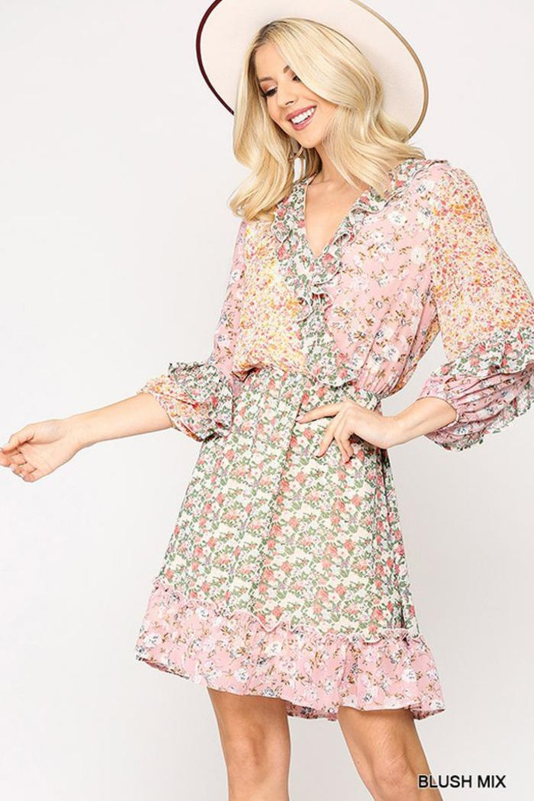 GiGiO Ditsy Floral Aesthetic Cottagecore Frilled Dress - Front Full Image